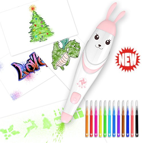 Air Marker Sprayer, Spray Art Electric Airbrush Marker Set, Magic Pen Coloured Markers Childrens Kids Toy Christmas Gift, Marker Sets for Kids, YiPG (Pink Rabbit)