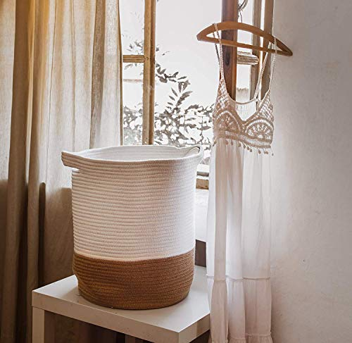 Cestas de almacenamiento grandes de 18 x 14 cm, cesta de cuerda de algodón para juguetes, toallas, mantas, cuarto de...
