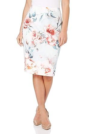 ece4761b7c Roman Originals Women Rose Floral Printed Scuba Skirt - Ladies Bodycon  Pencil Tube Knee Length Occasion