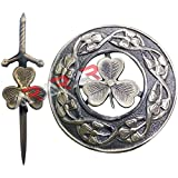 New Shamrock Kilt Pin and Brooch Badge Fly Plaid Antique Finish