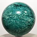 2.75'' Chrysocolla Sphere Blue Natural Crystal Polished Ball Chalcedony Mineral Gemstone - Peru + Plastic Stand