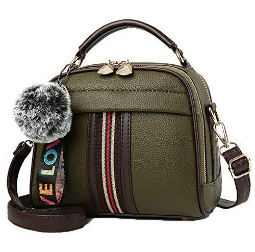 Bags Army Crossbody Tote Women's Odomolor Fashion Pom Pu Green Bags R0BK182486 Claret Poms wOCqP8SC