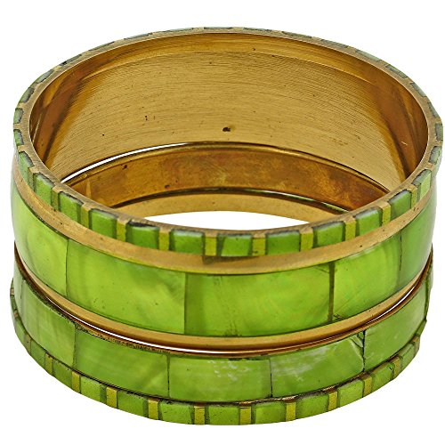 [Set of 4 Parrot Green Bangles Set for Women Costume Fashion Jewellery from India - Birthday Gifts] (Parrot Costume Female)