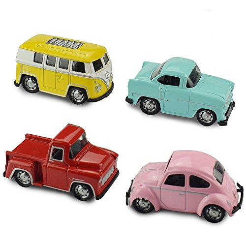 EsOfficce Pull Back Vehicles, 4 Pack Metal Die-cast Vehicles, Mini Toy Car, Pull Back Cars with Bus, Beetle,Pickup,Car ,Party Favor Toy Car for Toddler 3 Years