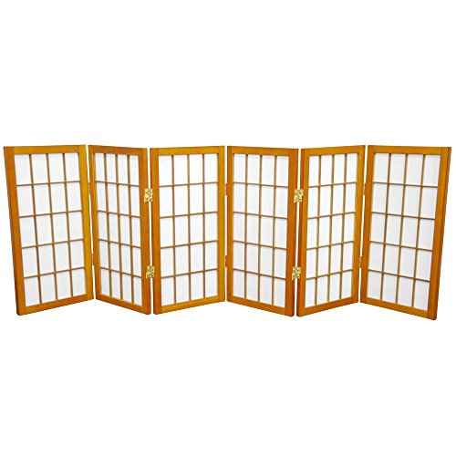 Oriental Furniture 2 ft. Tall Desktop Window Pane Shoji Screen - Honey - 6 - Partitions Hon Office