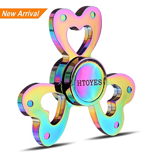 Rainbow Spinner (HTOYES Love Heart Rainbow Fidget Spinner Toy Colors Hand Tri-Spinner Focus Autism ADHD Finger Spiral Toy,Stress Reducer Relieves Anxiety and Boredom Spinner Toys)