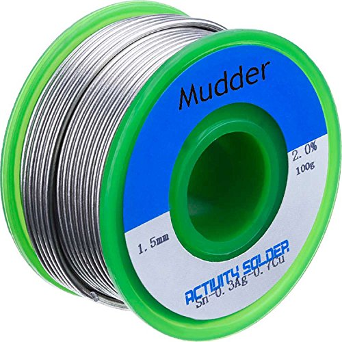 (Mudder Lead Free Solder Wire Sn99 Ag0.3 Cu0.7 with Rosin Core for Electrical Soldering 100g (1.5 mm) )