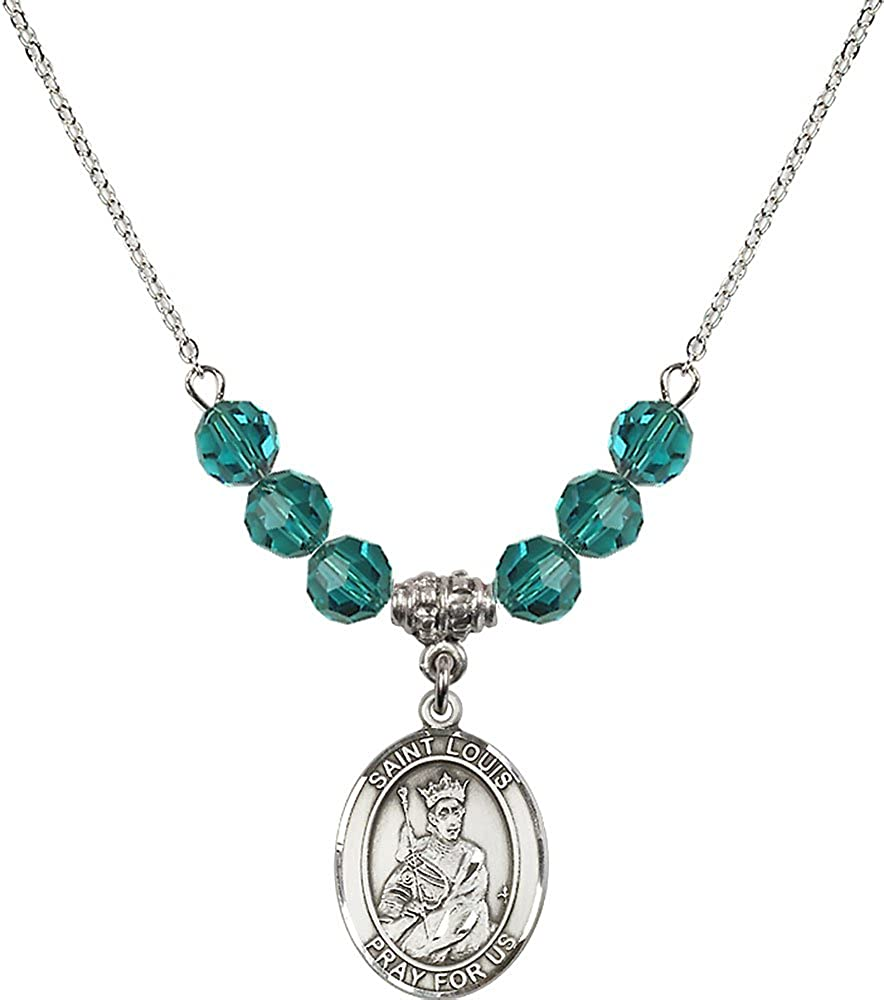 18-Inch Rhodium Plated Necklace with 6mm Zircon Birthstone Beads and Sterling Silver Saint Louis Charm.