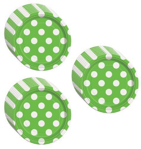 Lime Green Polka Dot Dessert Plates - 24 Pieces
