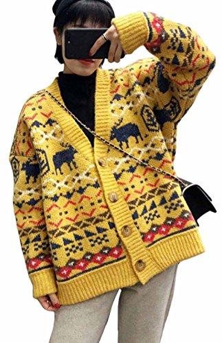 MengFan レディース カーディガン 秋 冬 厚手 トップス 花柄 長袖 柔らかい 暖かい アウター ゆったり Vネック 可愛い ニットコート 韓国風 女性用