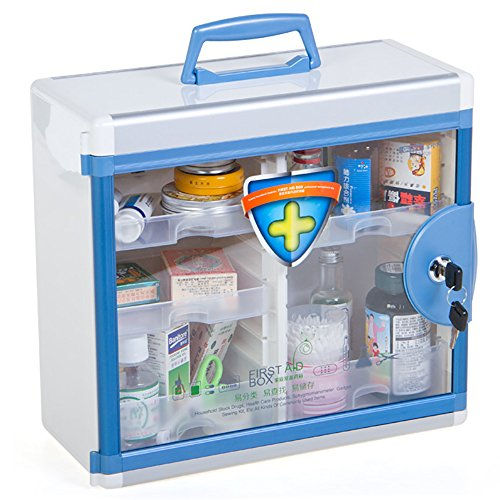 Glosen First Aid Box Lockable Medicine Box with Wall Mounted Function 13.6x6.5x12.4 Inch Blue by Glosen