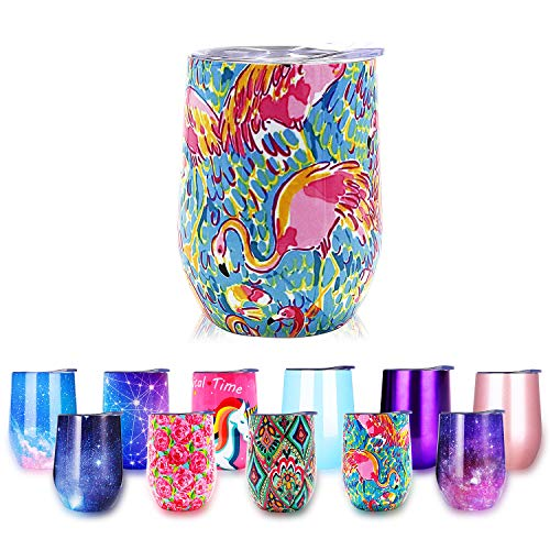 Lilly Pulitzer Tumbler - Stainless Steel Stemless Wine Glass Tumbler with Lid, 12 oz | Double Wall Vacuum Insulation Travel Tumbler Cup for Wine Coffee Drinks Champagne Cocktails Ice Cream | Sweat Free