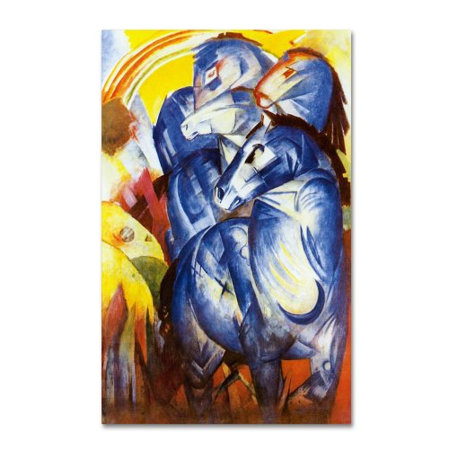 A Tower of Blue Horses 1913 Artwork by Franz Marc, 22 by 32-Inch Canvas Wall Art