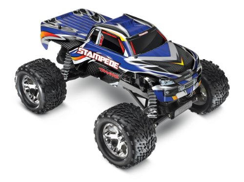 Stampede Monster Truck - Traxxas Stampede 1/10 Scale 2WD Monster Truck with TQ 2.4GHz Radio, Blue