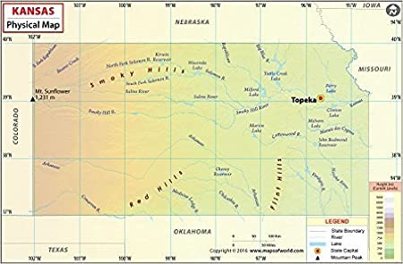 Physical Map Of Texas.Amazon Com Kansas Physical Map 36 W X 23 54 H Office Products