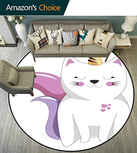 Unicorn Cat Round Rug for Living Room,Fictitious Horned Character with Cute Face Expression Girls Kids for Bedroom,Light Pink Orange Lilac,D-67 ()