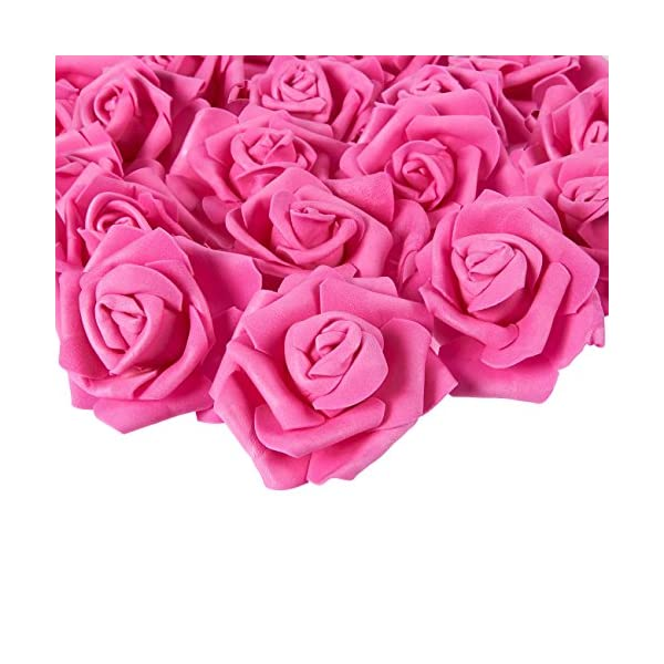 Juvale Rose Flower Heads – 100-Pack Artificial Roses, Perfect Wedding Decorations, Baby Showers, Crafts – Deep Pink, 3 x 1.25 x 3 inches