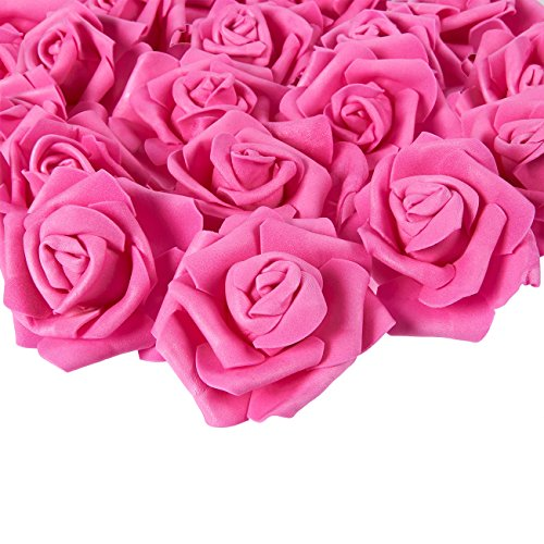 Juvale Rose Flower Heads - 100-Pack Artificial Roses, Perfect Wedding Decorations, Baby Showers, Crafts - Deep Pink, 3 x 1.25 x 3 inches