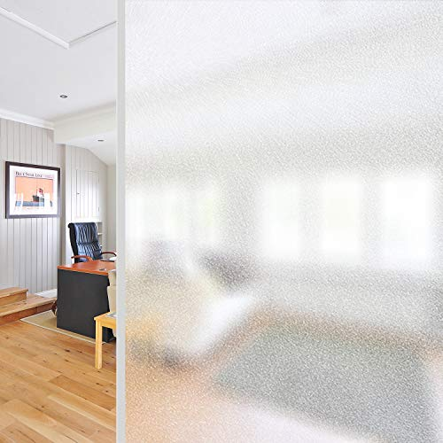AILIYA Privacy Window Film White Frosted, Thicken Static Cling Vinly Opaque Glass Film, Non Adhesive Matte White Window Sticker for Home Office Meeting Living Room, 1 Roll, 17-3/4 by 78-3/4 inches