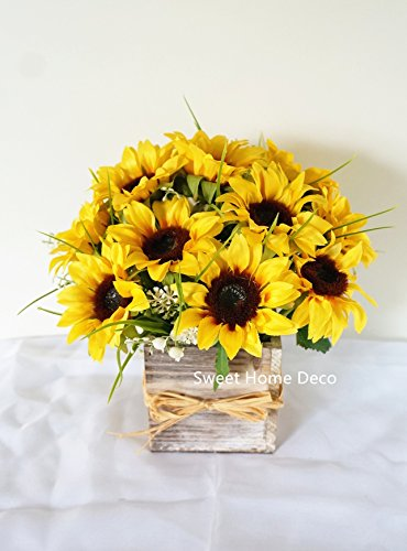 Sweet Home Deco Silk Sunflower Artificial Flower Bouquet/Flower Boutonniere Wedding Flowers (Yellow Arrangement w/ Wooden Vase)