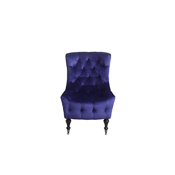 Classic Tufted Velvet Shelter Wing Living Room Chair, Accent Armchair with Casters (Navy)