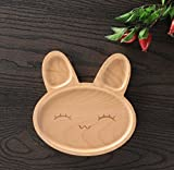 XDOBO Handmade Wooden Condiment Dish Plate, Sauce Dishes/Sushi Plate, cute Rabbit plate, wooden Kitchen/Restaurant/Cafe/Shop Food Holder Container for Ice Cream/Fruit/Snack/Dessert, Japanese style (C)
