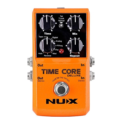 (NUX Time Core Deluxe Digital Delay Guitar Effect Pedal 7 Delay types with Looper Tone lock)