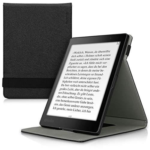 kwmobile Cover for Kobo Aura ONE - Case with Built-In Hand Strap and Stand in black by kwmobile