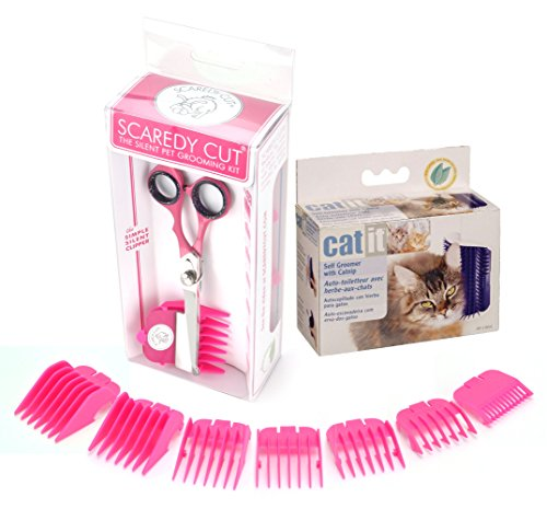 Scaredy Cut Silent Pet Clipper in Pink with Catit Self Groomer & Catnip