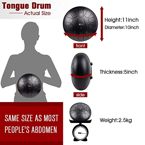 Richday Mini Tongue Drum Steel Percussion Hang Drum 11 Notes 10 Inches with Padded Travel Bag by Richday (Image #2)