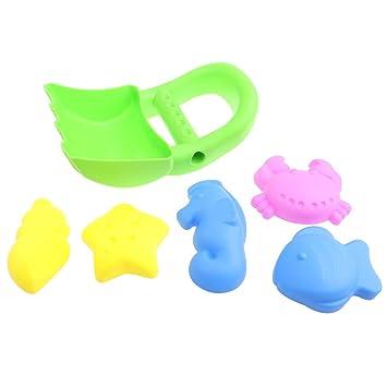 Sharplace Paquete de 6 Molde de Arena Plástico Colorido Juguete de Playa Verano Modelo de Animales Marinos de Imitación Juego Divertido para Niños: ...