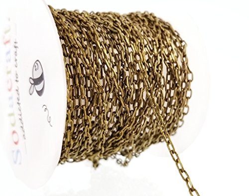 10ft (3.1m) Antique Bronze Solid Brass Cable Chain Mini Spool- Nickel Free Hypoallergenic - (2 x 3.6mm) 2mm