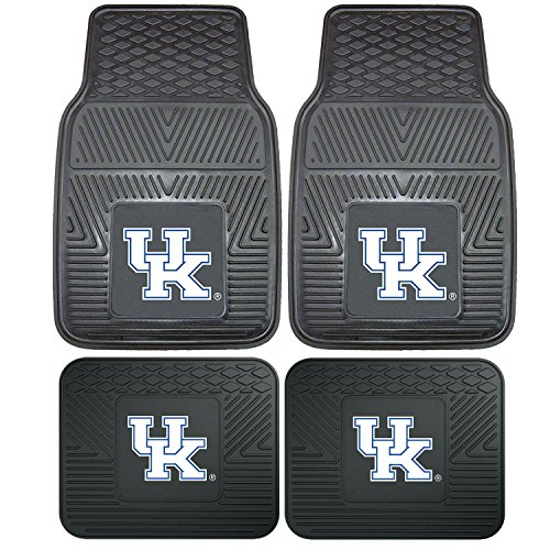 Northwest Officially Licensed NCAA Set of Universal Fit Front and Rear Logo Rubber Automotive Floor Mats - Kentucky Wildcats