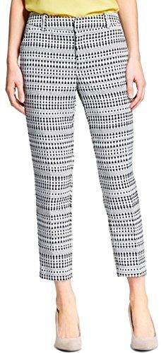 Merona Women's Jacquard Classic Ankle Pant (16W, Black/White)