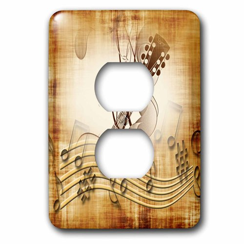 3dRose lsp/_205183/_6 Brown grunge music note background with electric guitar art 2 Plug Outlet Cover Multicolor
