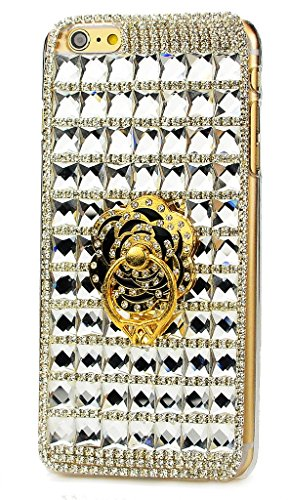 Case Generation Crystal Rubber (STENES iPod Touch (5th Generation) Case, Luxurious Crystal 3D Handmade Sparkle Diamond Rhinestone Clear Cover With Retro Bowknot Anti Dust Plug - Classic Lattice Grid Camellia Ring Stand/White)