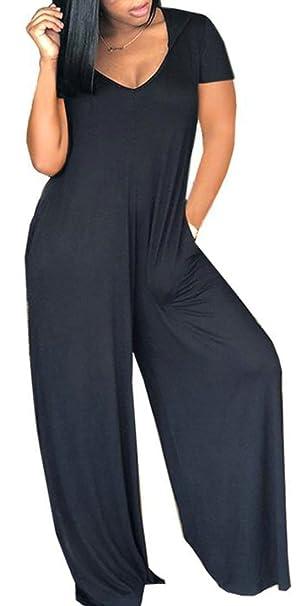 c2794529ecfa Etecredpow Womens Casual V Neck Short Sleeve Playsuit Solid Color Wide Leg Loose  Fit Jumpsuit Black
