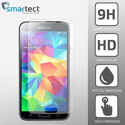 SmarTect® Samsung Galaxy S5 Premium Panzerglas Display-Schutzfolie aus gehärtetem Tempered Glass   Gorilla-Glas mit Härtegrad 9H   Panzerfolie - Top-Schutzglas gegen Kratzer (0,33 mm,gerundete Kanten)