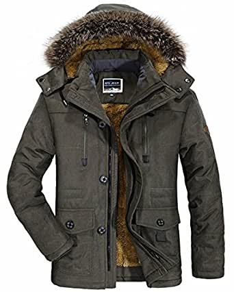 CYVVV Mens Winter Warm Thick Faux Fur Lined Hooded