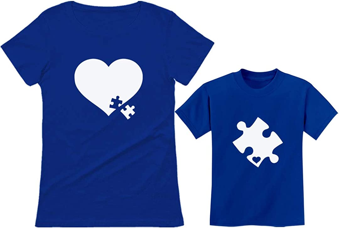 Matching Autism Awareness Shirts Puzzle Piece Heart Set Mom Toddler Kids Tshirts