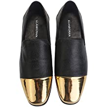 ELANROMAN Men's Velvet Loafers Emboss Black Dress Shoes For Men Leather Loafers With Gold Color Toe Fashion Penny Loafers Shoes