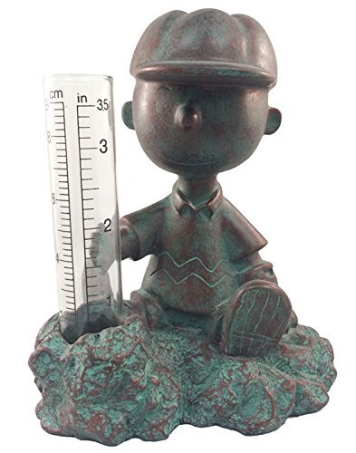 Homestyles #51503 Charlie Brown Rain Gauge Painted Figurine from The Snoopy Peanuts Garden Statue Collection
