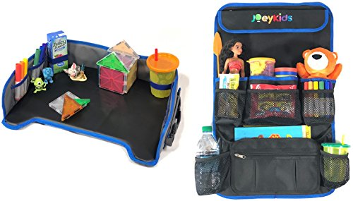 Kids Travel Tray & Car Back Seat Organizer Set By JoeyKids, Solid Surface, Spill Proof Leather Surface Side Pocket Storage. BackSeat Organizer with tablet holder and Detachable Pouch.