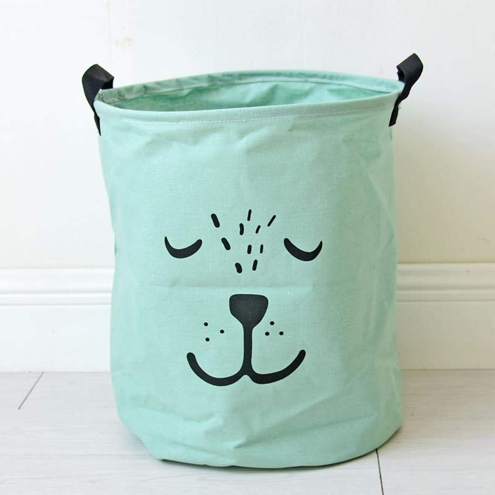 kaige Laundry Basket Dirty clothes bucket animal expression dirty clothes basket storage Barrel Cotton Hemp Storage Barrel