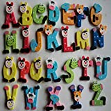 Naladoo 1 Set Hot Selling 26pcs Wooden Cartoon Alphabet A-Z Magnets Child Electronic Toy Gift for Children 0-6 years old