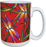 Tree-Free Greetings 79017 Deux Libellules Collectible Art Ceramic Mug with Full Sized Handle, 15-Ounce, Multicolored