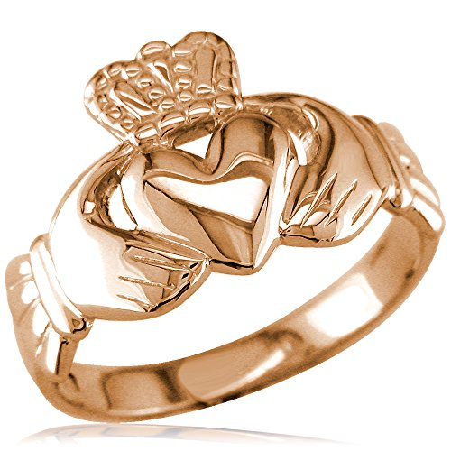 Wide Lightweight Ladies or Mens Claddagh Ring in 14K Pink, Rose Gold size 5.5