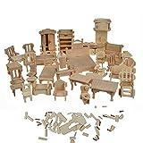 1SET=34PCS Dollhouse Furnitures - Laser Cut Wooden 3D Puzzle - Miniature Models Doll House DIY Accessories