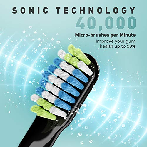 ATMOKO Electric Toothbrushes for Adults 3 Sonic Electric Toothbrushes Clean Teeth Rechargeable with 40000VPM Includes 12 Brush Heads, Black/Pink/White