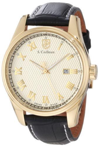 S. Coifman Men's SC0147 Champagne Textured Dial Black Leather Watch ()